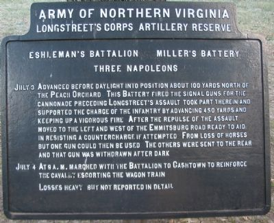 Eshleman's Battalion - Miller's Battery Marker image. Click for full size.