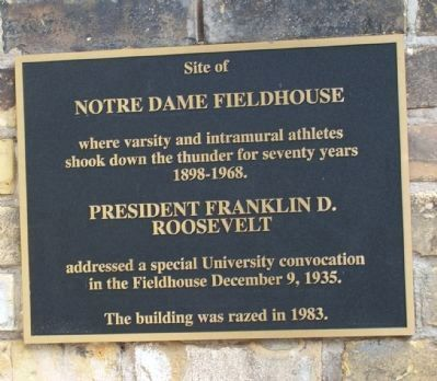 Notre Dame Fieldhouse Marker image. Click for full size.