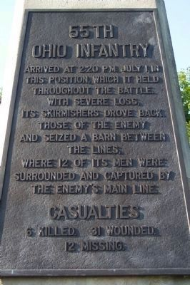 55th Ohio Infantry Battle Chronology image. Click for full size.