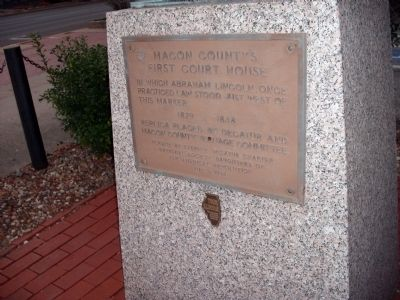 Macon County's First Court House Marker image. Click for full size.