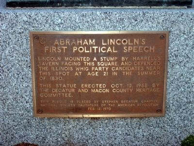 Abraham Lincoln's First Political Speech Marker image. Click for full size.