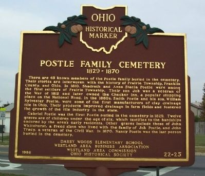 Postle Family Cemetery Marker image. Click for full size.