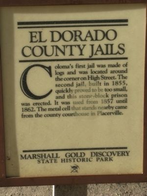 El Dorado County Jails Marker image. Click for full size.