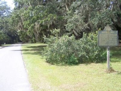 Gascoigne Bluff Marker, along Arthur J. Moore Dr., looking south image. Click for full size.