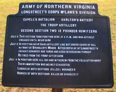 Cabell's Battalion - Carlton's Battery Tablet image. Click for full size.