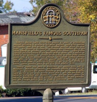 Mansfield's Famous Southpaw Marker image. Click for full size.