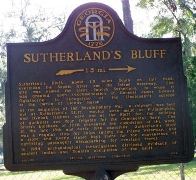 Sutherland's Bluff Marker image. Click for full size.