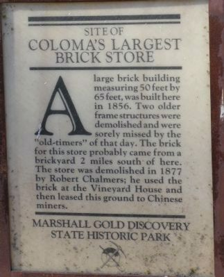 Coloma's Largest Brick Store Marker image. Click for full size.