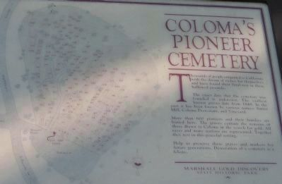 Coloma's Pioneer Cemetery Marker image. Click for full size.