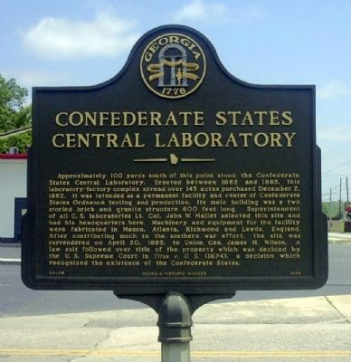 Confederate States Central Laboratory Marker image. Click for full size.