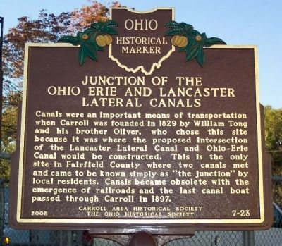 Junction of the Ohio Erie and Lancaster Lateral Canals Marker image. Click for full size.