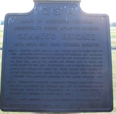 Semmes's Brigade Tablet image. Click for full size.