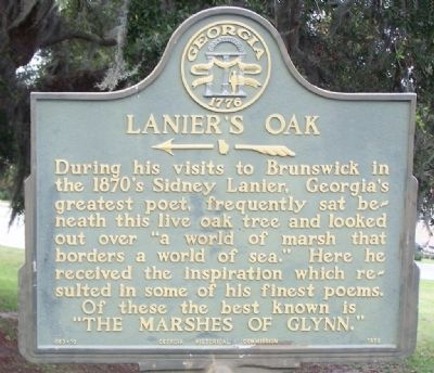 Lanier's Oak Marker image. Click for full size.