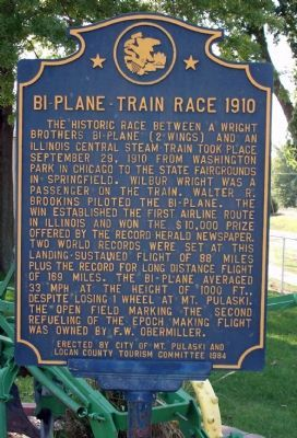 Bi-Plane - - Train Race 1910 Marker image. Click for full size.