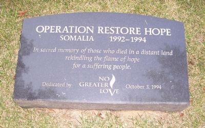 Operation Restore Hope Marker image. Click for full size.