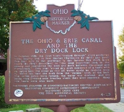 The Ohio & Erie Canal and the Dry Dock Lock Marker image. Click for full size.