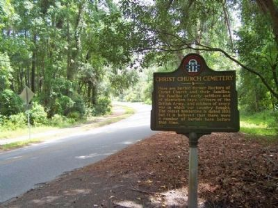 Christ Church Cemetery, looking south along Frederica Rd image. Click for full size.