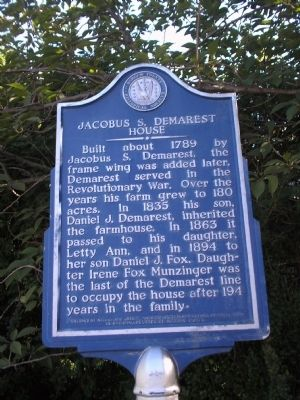 Jacobus S. Demarest House Marker image. Click for full size.