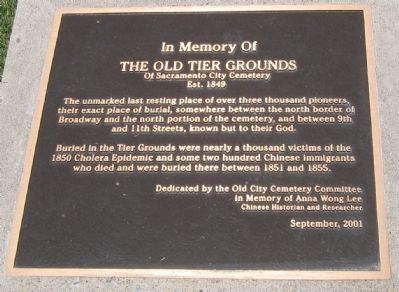 In Memory of the Old Tier Grounds Marker image. Click for full size.