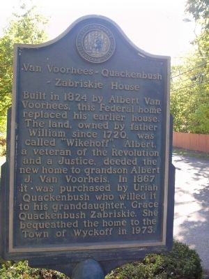 Van Voorhees – Quackenbush – Zabriskie House Marker image. Click for full size.