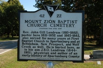 Mount Zion Baptist Church Cemetery Marker image. Click for full size.