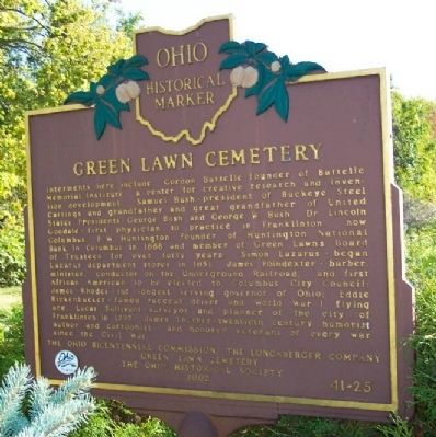 Green Lawn Cemetery Marker (Side B) image. Click for full size.
