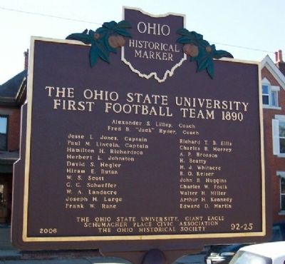 The Ohio State University First Football Team 1890 Marker image. Click for full size.