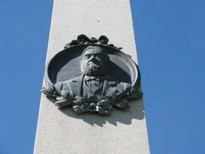 Sculpture of A.M. Winn on Monument image. Click for full size.