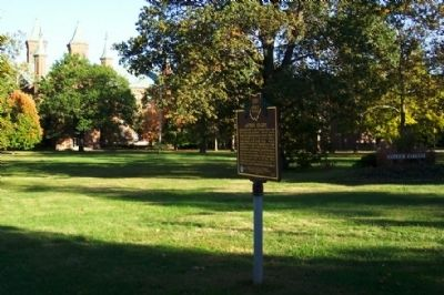 Antioch College Marker with Antioch Hall in background image. Click for full size.