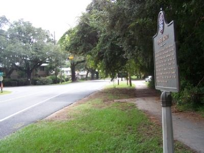 Demere Road Marker, looking south on Demere Road image. Click for full size.