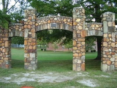 College Stone Wall & Gate image. Click for full size.