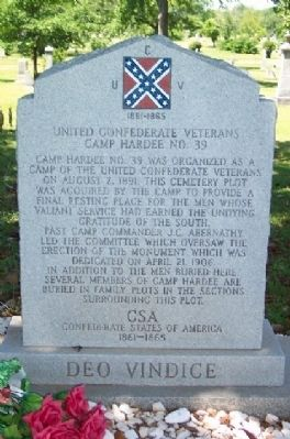 United Confederate Veterans Camp Hardee No. 39 Marker image. Click for full size.