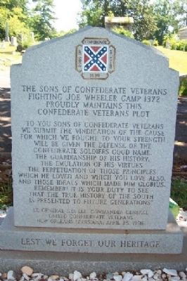 (Reverse) Sons of Confederate Veterans Fighting Joe Wheeler Camp 1372 Marker image. Click for full size.