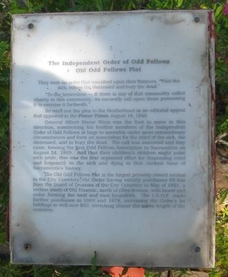 Old Odd Fellows Plot Marker image. Click for full size.