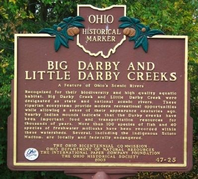 Big Darby and Little Darby Creeks Marker image. Click for full size.
