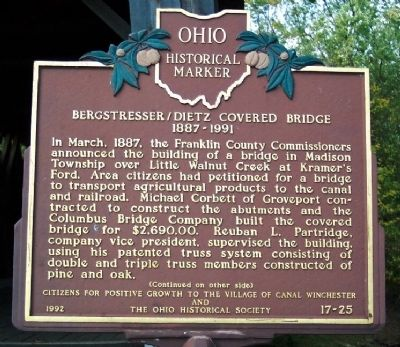 Bergstresser/Dietz Covered Bridge Marker (side A) image. Click for full size.