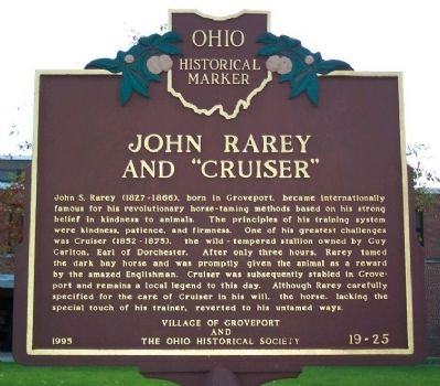 "John Rarey and ""Cruiser"" Marker image. Click for full size."