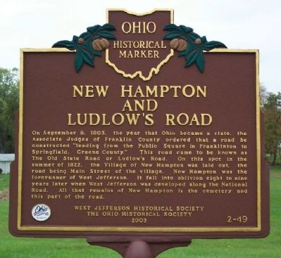 New Hampton and Ludlow's Road Marker image. Click for full size.