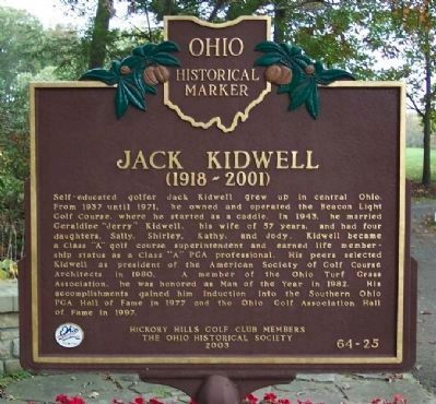 Jack Kidwell Marker </b>(front) image. Click for full size.