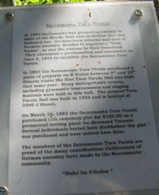 Sacramento Turn Verein Marker image. Click for full size.