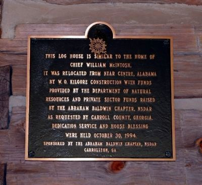 Plaque on the house at McIntosh Reserve, site of the Council Bluffs Treaty. image. Click for full size.