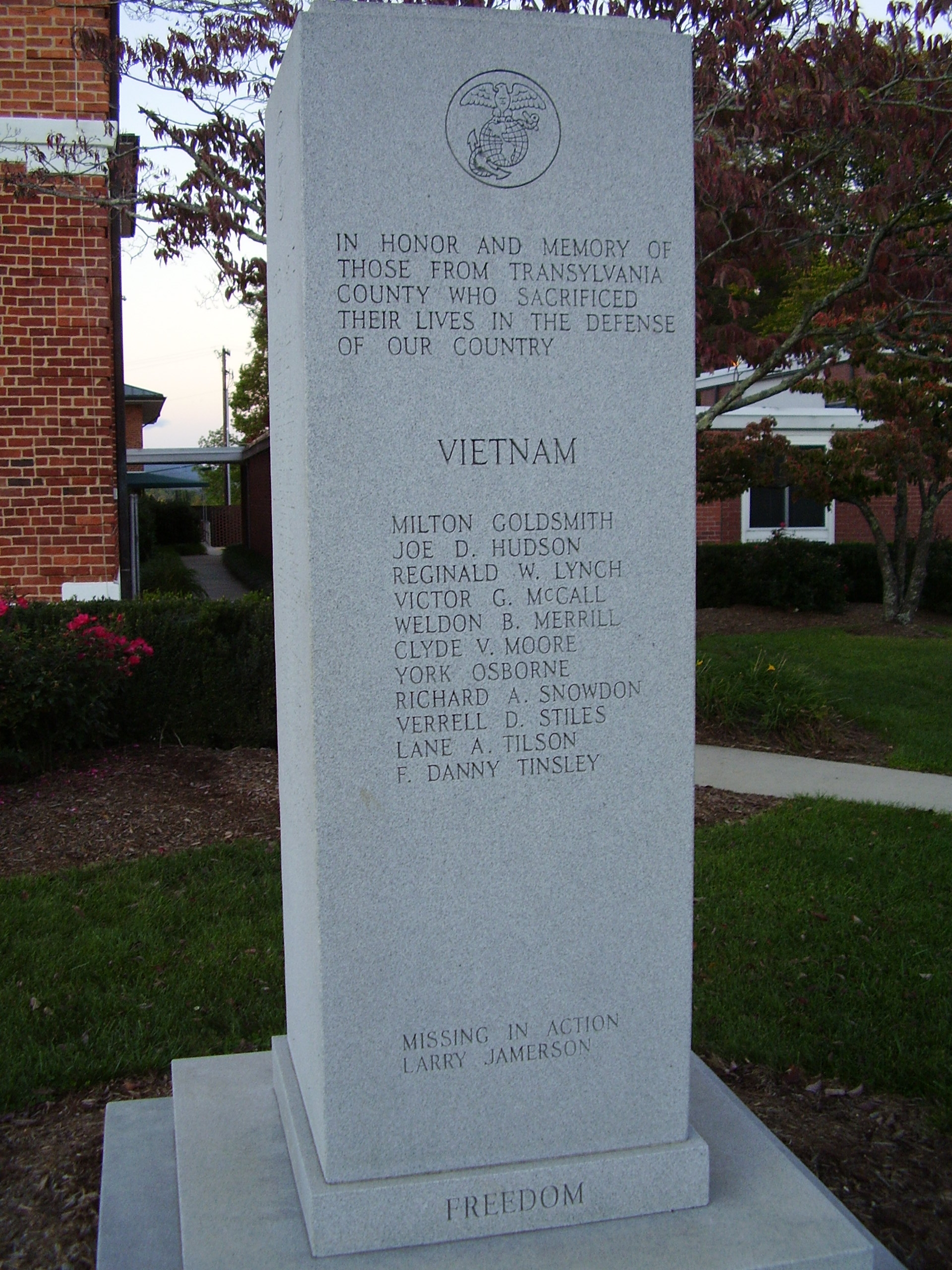 "In Honor and Memory Marker - ""FREEDOM"" side"