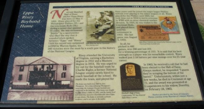 Eppa Rixey Boyhood Home Marker image. Click for full size.