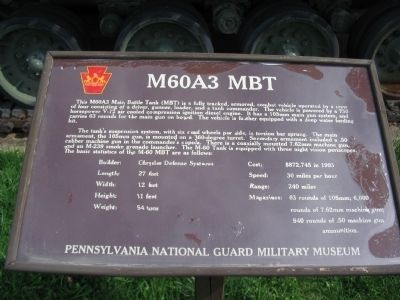 Former M60A3 MBT Marker image. Click for full size.