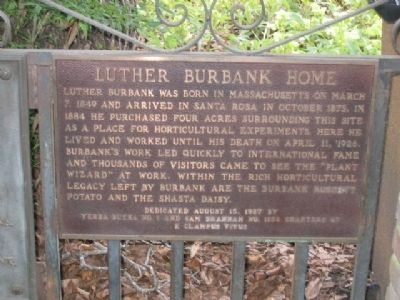 Luther Burbank Home Marker image. Click for full size.