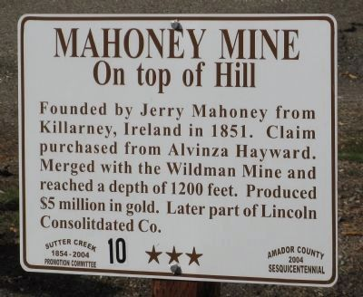 Mahoney Mine Marker image. Click for full size.