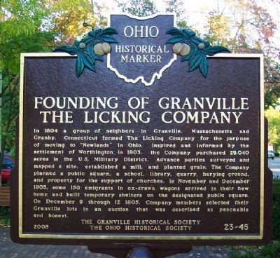 Founding of Granville, The Licking Company Marker (side A) image. Click for full size.