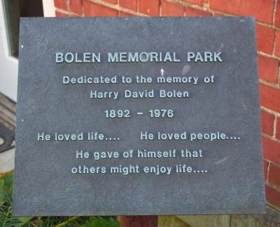 Bolen Memorial Park Marker image. Click for full size.