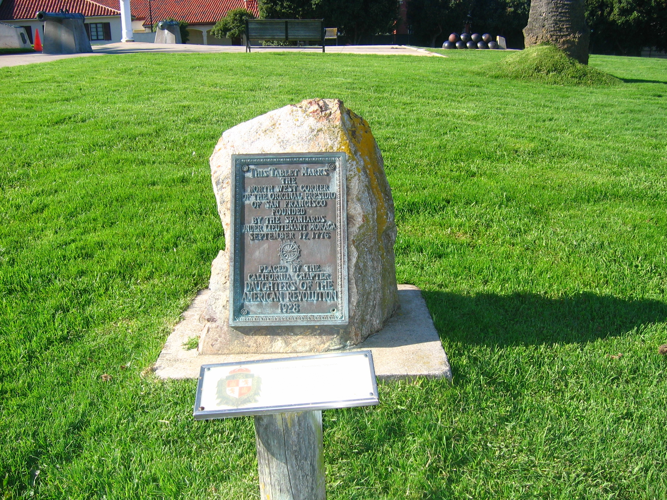 North West Corner of Original Presidio Marker