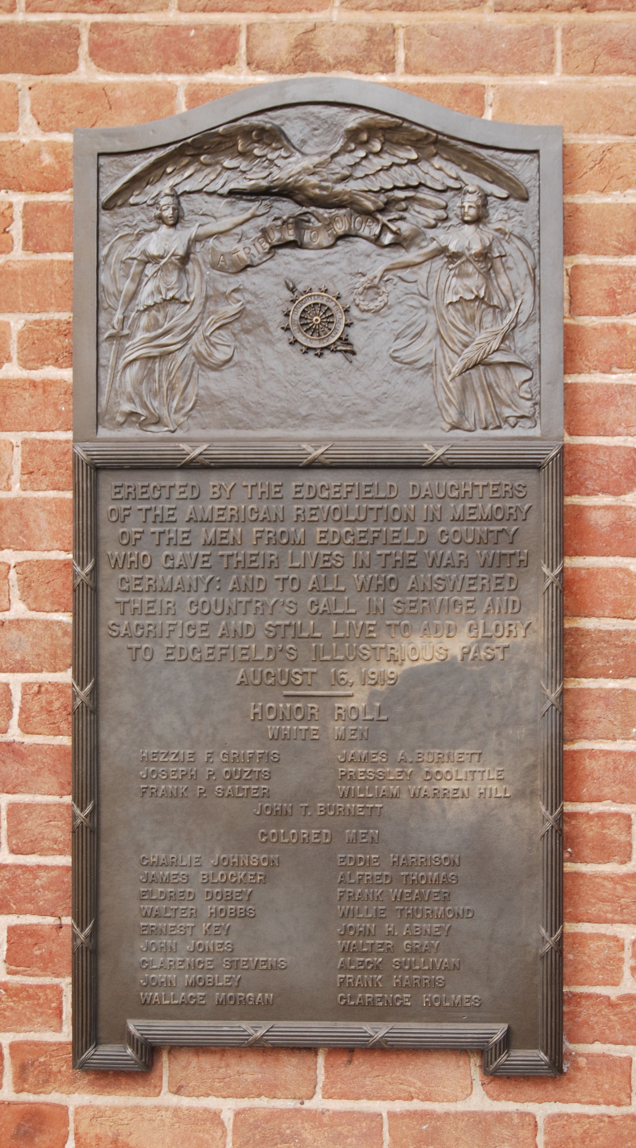 Edgefield County World War I Memorial Marker
